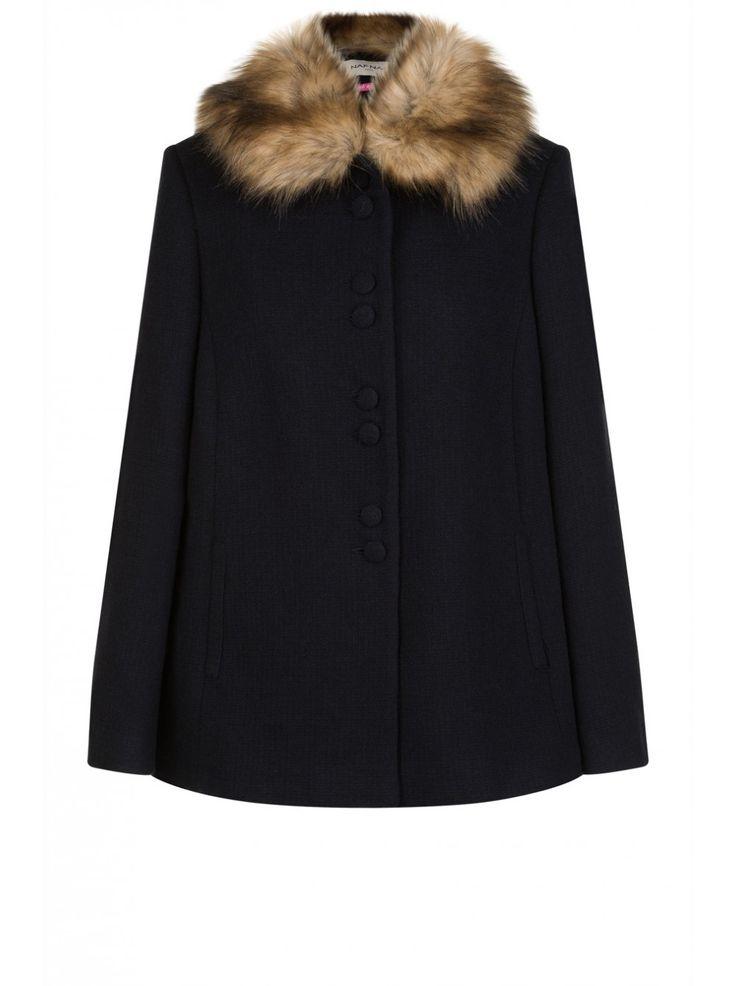 manteau col fausse fourrure bleu marine droits femme naf naf beauty pinterest capes. Black Bedroom Furniture Sets. Home Design Ideas