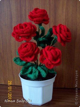 FREE PATTERN ~ WRITTEN IN RUSSIAN ~ Crochet flowers in vase + tutorial