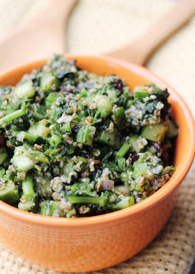 Kale Tabbouleh with Sour Cherries #salad #vegan