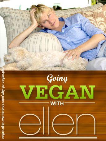 """ellen degeneres launched """"going vegan with ellen"""" dedicated to the ethics and benefits of her vegan lifestyle."""