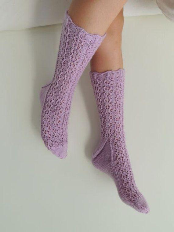 7de064bd4 Hand Knit Socks - Lace Wool Socks - Luxurious Gift for Her - Winter Socks -  New York Fashion Socks -
