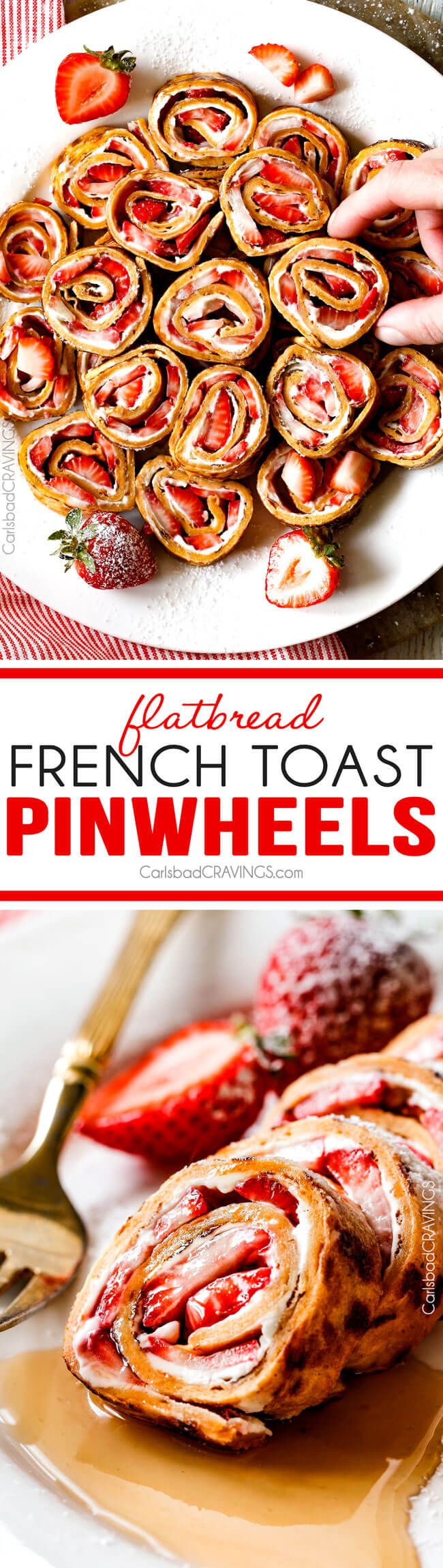 These French Toast Pinwheels or Roll UPs are the cutest, tastiest thing ever and way easier than traditional French Toast roll ups! I made them for a brunch and everyone loved them!