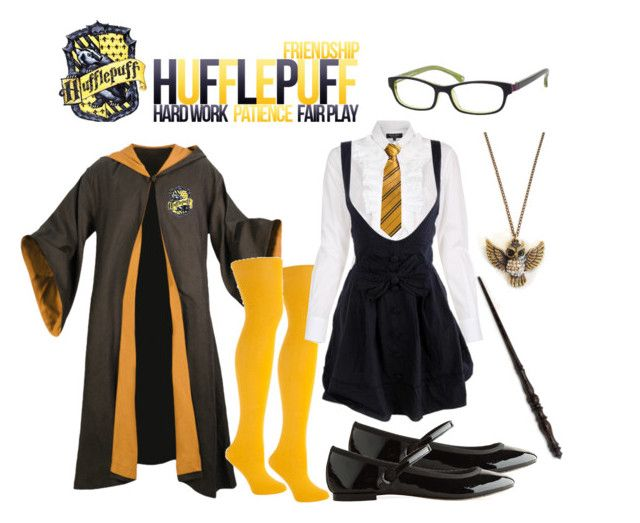"""Hufflepuff uniform"" by doe-eyed-doll ❤ liked on Polyvore featuring Paul Smith, Repetto, Emma Watson, Nine West, uniform, j.k rowling, hogwarts, hufflepuff and harry potter"