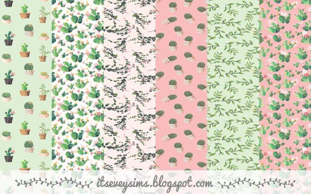 Vintage plants wallpaper at Evey Sims via Sims 4 Updates