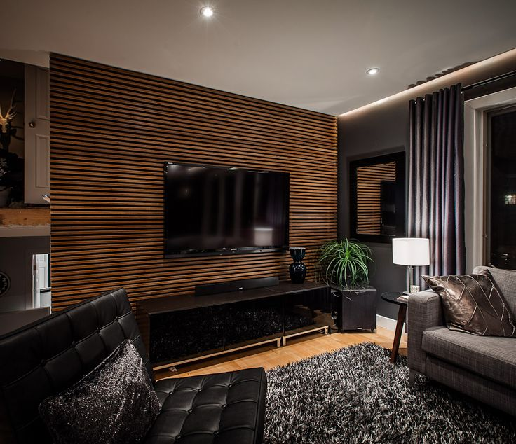 Interior Impressive Living Room Design With Cool Wood Slat Wall For Tv Desk And Elegant Black Leather Sofa Combined Modern Cabinet Lamps