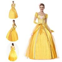 Fairy Tale Ball Gown Fancy Dress Yellow Deluxe Sexy Belle Princess Costume Halloween Adult Cosplay C