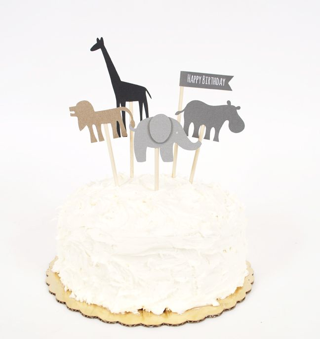 Silhouette Blog: DIY Birthday Cake Toppers - not the animal theme necessarily, but these make a big impact and are so EASY!