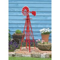 4ft. Ornamental Garden Windmill  — Red with White Tips