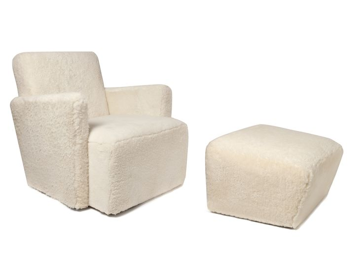 """Petit Frank"" armchair and ottoman, Design by Hervé Langlais, created as a tribute to Jean-Michel Frank's armchair"
