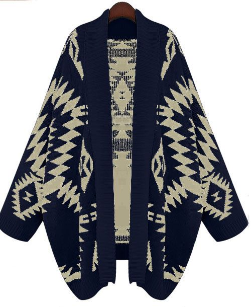 Navy Batwing Long Sleeve Geometric Cardigan Sweater: