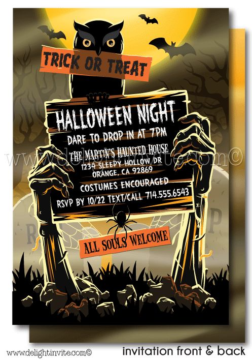 Zombie Graveyard Adult Halloween Party invitations, printed Halloween invites, scary halloween party invitations