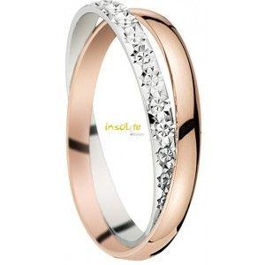 Bague de mariage entrelacée or blanc et rose insolite alliances