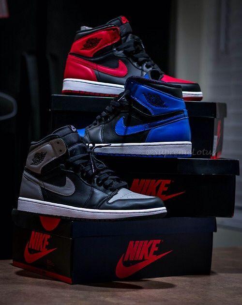 Nike Air Jordan 1, (from top to bottom: breds, royal blues, shadow greys) the staple sneaker of every Jordan fan.