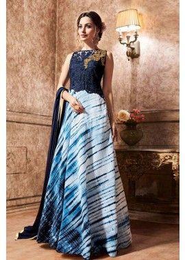 soie de couleur bleue, costume Anarkali net, - 132,00 €, #Tenueindou #Salwarkameez #Tenueindienne #Shopkund
