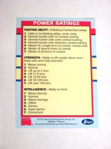 1992 MARVEL X-MEN SERIES 1 IMPEL POWER RATINGS INSERT CHASE CARD FROM TIN ONLY!!