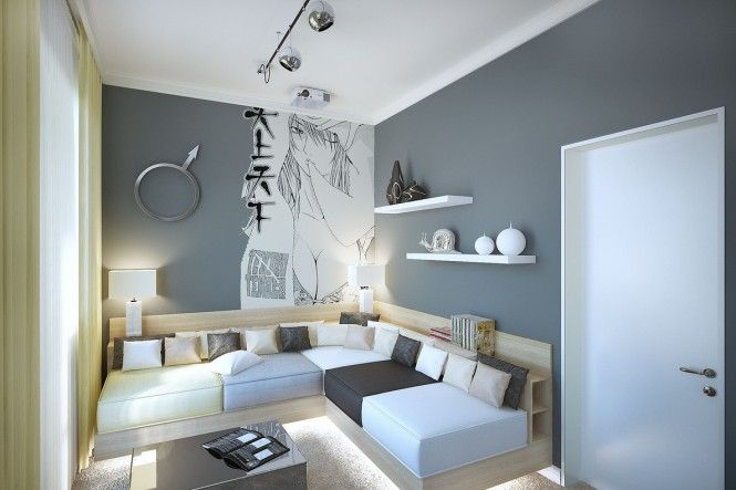 We begin with a youthful look, smoothed out in cool gray painted walls complete with huge Manga style murals.