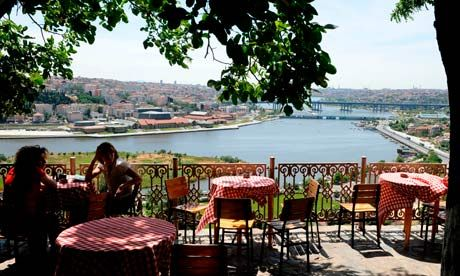 Pierre Loti Cafe. a cafe on a hill overlooking the Golden Horn. You can get there on a cable car ride from Eyüp
