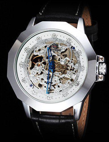 forsining Vintage Skeleton mechanische Uhr des ledernen Bügels der Männer , gold - http://uhr.haus/yyf/forsining-vintage-skeleton-mechanische-uhr-des