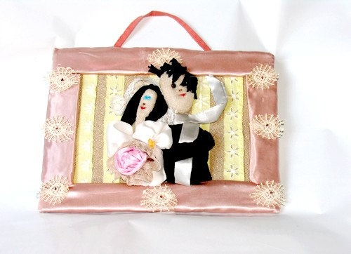 Valentine's Day Wedding Bride & Groom Just by recyclingroom, $75.00