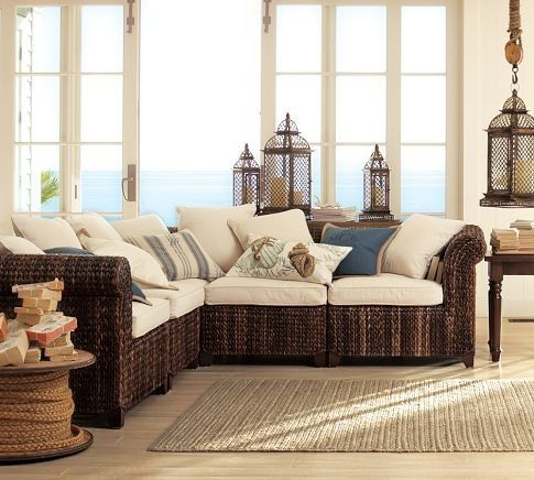 Seagrass Five-Piece Sectional tropical sectional sofas; wicker; natural rug; blue and white, beige; windows