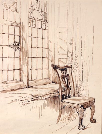 Sketch of a chair and window at Melford Hall by Beatrix Potter. The stately rooms of Melford Hall in Suffolk inspired some of Potter's most exquisite furniture studies. Detailed and delicately drawn.
