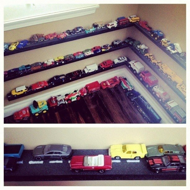 DIY Car toy shelves! I had all the wood precut to custom length from my guy at home depot, sprayed black, added a texture paint to represent asphalt on the top, then made a street stencil. some liquid nails, a few sleeves and screws.. Wa La!