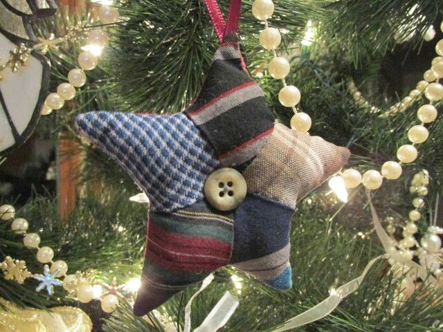 "One Pinner said, ""Memory Star ornaments made with my Dad's shirt fabrics. We lost him in Oct. and these made great gifts for those who didn't get a quilt. They were so tiny that I ended up sewing them by hand. It soothed my heart. (From a woman in a quilting group in part of)"""