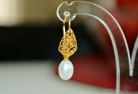 Bridal Pearl Earrings Wedding Drop Pearl by OlgaMaria Jewel Inspirations