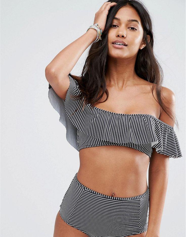 Image 1 of Billabong Stripe Ruffle Bikini Top More