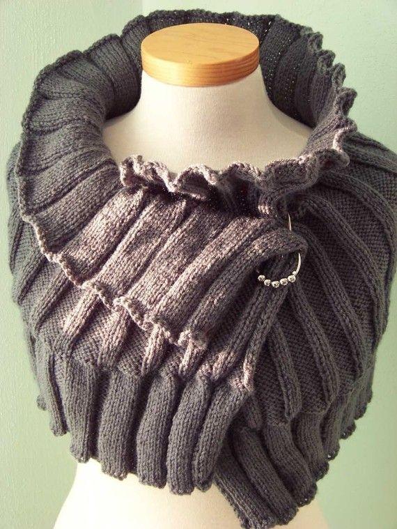 Elegant grey knitted capelet, Pattern, PDF via Etsy