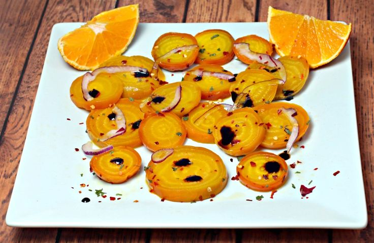 Roasted Golden Beets with Orange Pepper Vinaigrette