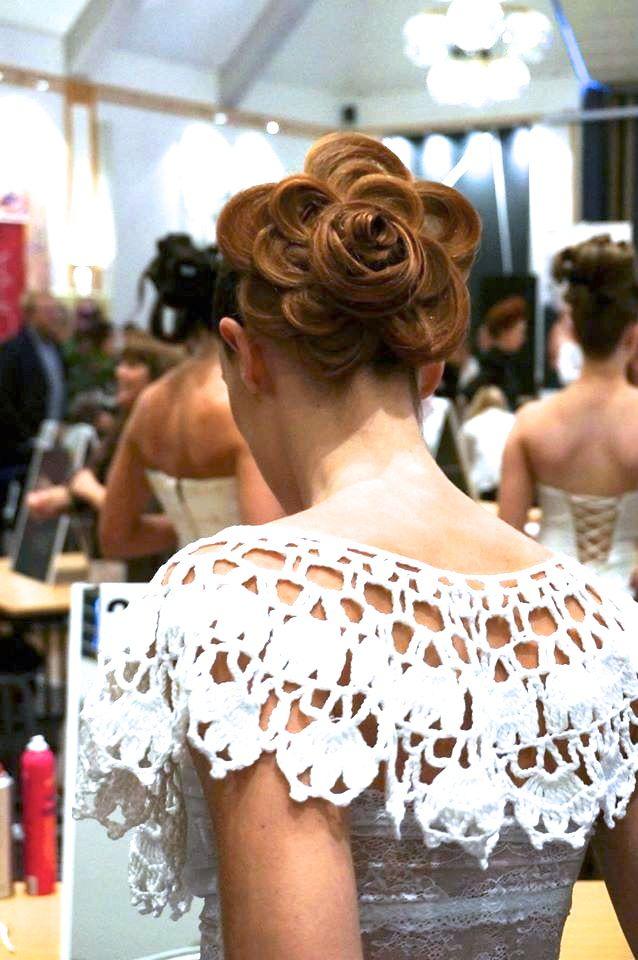 Hairdo flower hair bride wedding hairstyler crochet