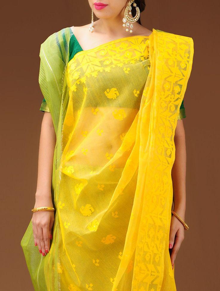 Lime-Green Dhakai Jamdani Cotton Saree