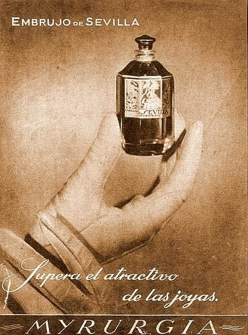 Embrujo de Sevilla by Myrurgia: launched in 1933. Created by Jean Carles.