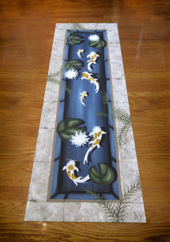 This Is A Great Idea For Rug Koi Fish Pond Floorcloth Hand Painted Art By Kelly Goodbrad Floorcloths Canvas