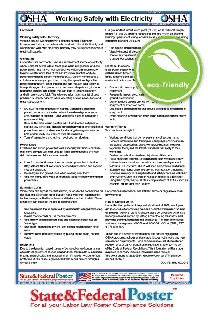 OSHA Working Safely With Electricity Factsheet! Working