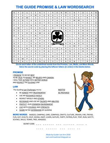 Canadian Girl Guides Promise Law Wordsearch. http://owl-and-toadstool.blogspot.ca/2012/03/guides-world-guiding-badge.html