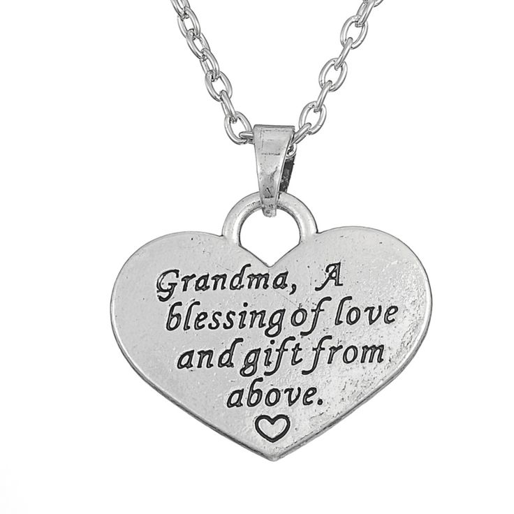 Aliexpress.com : Buy Love Family Quote Grandma A Blessing of Love And Gift From Above Heart Pendant Necklace from Reliable pendant fashion suppliers on Silver Jewelry Charm Factory