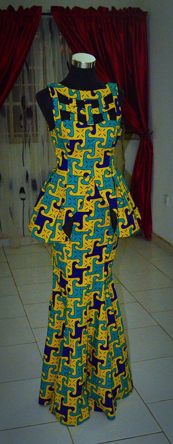 Robe de dîner imprimés africains longueur au sol par HouseOfIzzi