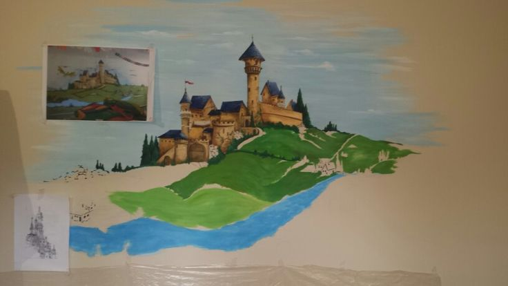 castle and dragon  mural as child room wall decoration (in progress)  https://m.facebook.com/ArtKor77