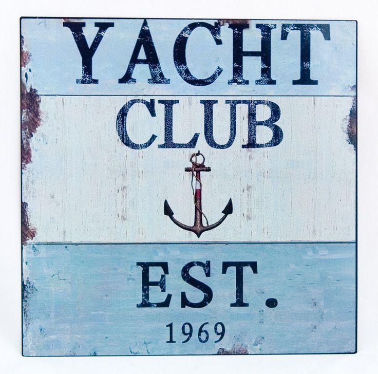 obrazek Yacht Club do powieszenia na ścianę w pokoju marynistycznym