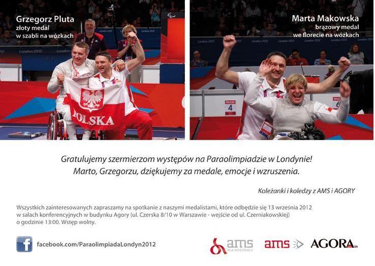 Gratulujemy naszym szermierzom zdobycia medali na Paraolimpiadzie w Londynie (2012) / Congratulations our fencers on winning medals at the Paralympics in London (2012)