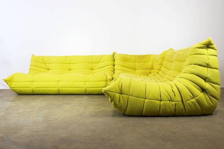 Togo Sofa Set or Livingroom Set Michel Ducaroy for Ligne Roset Pop Art Lime 1970 | From a unique collection of antique and modern living room sets at https://www.1stdibs.com/furniture/seating/living-room-sets/
