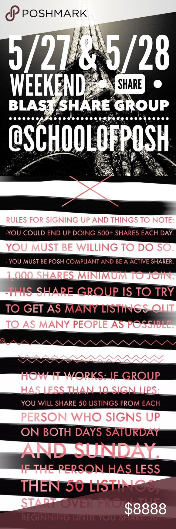 SHARE 50 WEEKEND BLAST- SIGN IN CLOSES AT 10am est Come on over and sign in for the SHARE 50, weekend Blast at the @schoolofposh! I will be guest hosting today! HURRY ON OVER, as sign in closed at 10:00 am eastern time!  READ INSTRUCTIONS ABOVE! This is a SUPER FUN GROUP! Don't sign in here. Follow the tag in the comment section to @schoolofposh!  SEE ya soon! @schoolofposh Bags