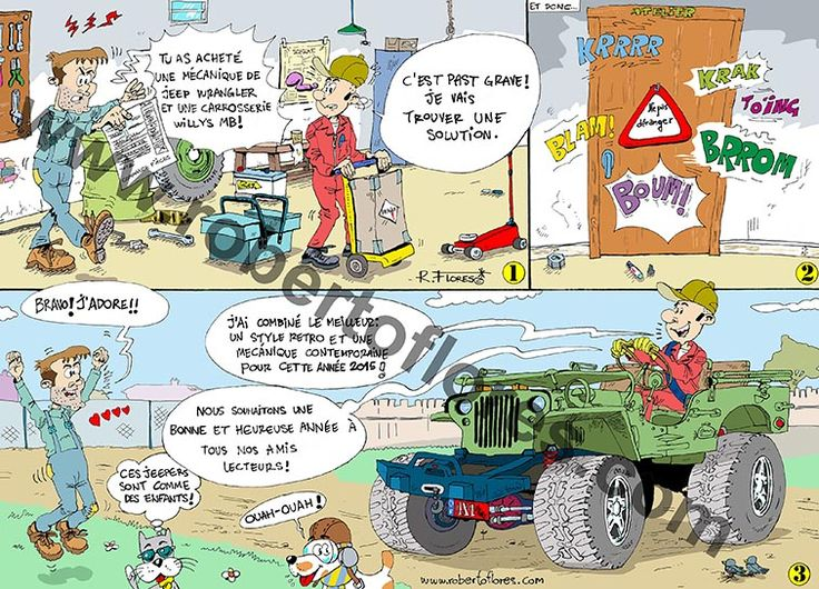 "Another of my #comic #cartoons for French bimontly magazine ""4x4 Story"", issue 60, January-February 2015...et vive la #Jeep ! And the #rockcrawling too!"