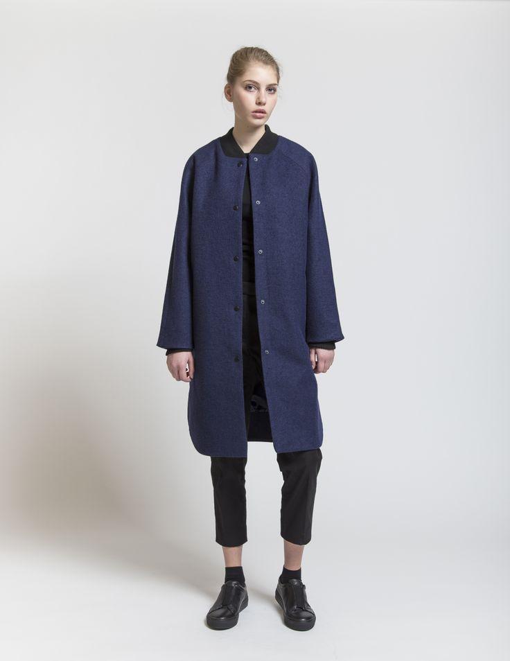 Selfhood - womensfashion outfit. Poly/wool jacket with baseball collar.