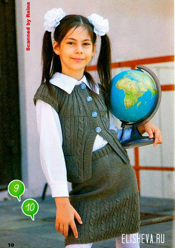 Костюм для школьницы, жилет и юбка, вязаный спицами