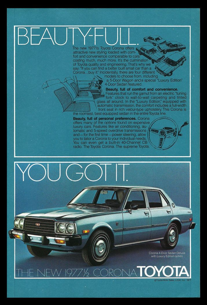 37 best classic toyota images on pinterest antique cars autos and 1977 12 toyota corona deluxe 4dr sedan print advertisement fandeluxe Images