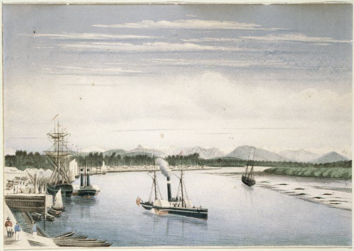 Hokitika Harbour 1869, 1866 is the year in which The Luminaries is set