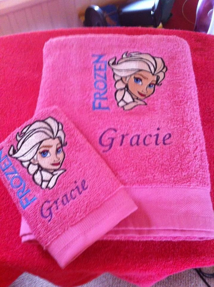 embroidered towels with elsa frozen design kims gallery machine embroidery forum